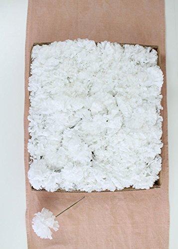 Larksilk White Silk Carnation Picks, Artificial Flower Heads for Weddings, Decorations, DIY Decor, 100 Count Bulk Carnations, 3.5