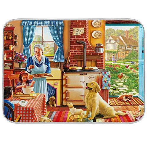 UMIRIKO Tapis de séchage absorbant pour comptoir de cuisine Motif famille de chiens 45,7 x 61 cm 2020859