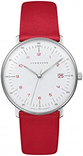 Junghans Max Bill Ladies 047/4541.00 Quartz Matte-White Dial Date Red