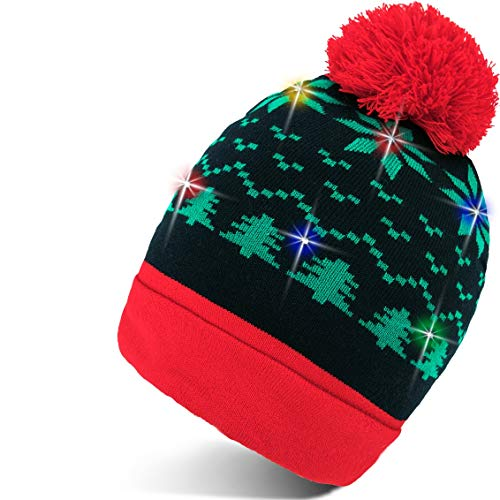 Light Up Christmas Hat Beanie - Colorful Led Stylish Beanie Hat Unisex Winter Flashing Cotton Knit Snow Accessory for Adults Women Boys Children with 2 Extra Batteries Santa Gift for Christmas Holiday
