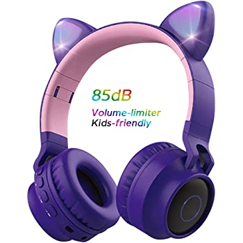 Wireless Bluetooth Kids Headphones, Aresrora Cat Ears Bluetooth Over Ear Headphones 85dB Volume Limiting,LED Lights, FM Radio, TF Card, Aux, Mic for iPhone/iPad/Kindle/Laptop/PC/TV (Purple)
