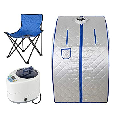 2L Steam Sauna Portable Home Spa, Folding Indoor Sauna Weight Loss Detox Relaxation at Home with Remote Control and Foldable Chair