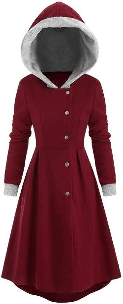 FUNEY Plus Size Snap Button Vintage Cloak Coat Jacket with Fur Trim,Fuzzy Fleece Long Skirted Hooded Coat Top for Women