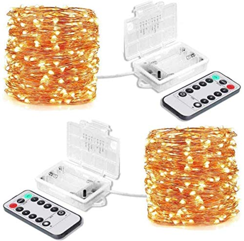 2 Pack Led Fairy Lights Battery Powered with 10M 100Leds for Indoor&Outdoor Fairy String Lights for Christmas,Wedding,Home Bedroom