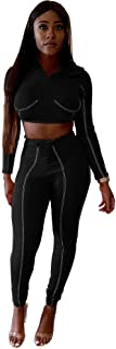 Women Casual 2 Piece Outfits - Sexy Jumpsuits with Hoodies Long Pant Rompers Black Demand Popular