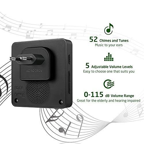 Funkklingel, AVANTEK Kabellose Türklingel mit 400m Reichweite, Funkklingel Türklingel    Wasserdicht  Wireless Doorbell mit 52 Klingeltöne, 5 Lautstärkestufen, 2 Empfänger und 1   Sender, DB-12, Schwarz