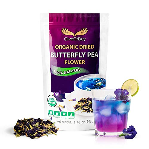 GiveOrBuy Butterfly Pea Flower Tea Organic 1.75 oz (50 g) - Vegan Rich Healthy Herbal Butterfly Pea Tea - Dried Clitoria Ternatea Flowers for Drinks, Food Coloring