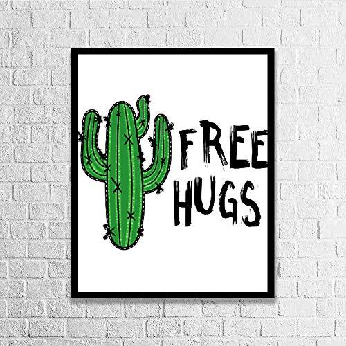 Dkisee Kaktus mit Botschaft Free Hugs Modernes Holzgerahmtes Schild Wandkunst Schild für Zuhause Büro Wanddekoration, Sperrholz, multi, 40*50cm