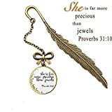 Segnalibri ispiratori della piuma delle Scritture, scritta della Bibbia cristiana regali per amici e familiari (3D Proverbi 31:10)