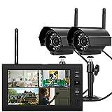 Cámara de vigilancia digital TFT DVR de 7 pulgadas, 4 canales, con monitor, cámara de vigilancia exterior LCD inalámbrica con 2 cámaras, hasta 15 metros de rango de visión nocturna