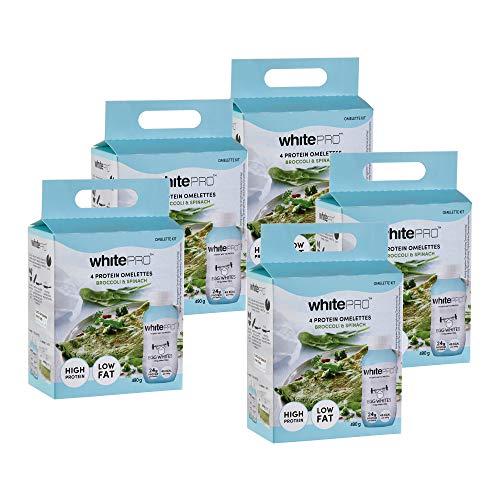 whitePRO™ Eiweiß Brokkoli-Spinat Omelett Set, 5er Pack, 10 x 220 ml Flüssiges Eiklar und 10 Tüten Gewürz