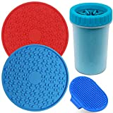 Dog Washing Kit, 4 Pc Pet Bath Set - Dual Dog Lick Pads, Dog Paw Cleaner, Dog Grooming Brush, Pet Dog Bathing Cleaning Set For Dog Cat Grooming Cleaning Training and Massaging