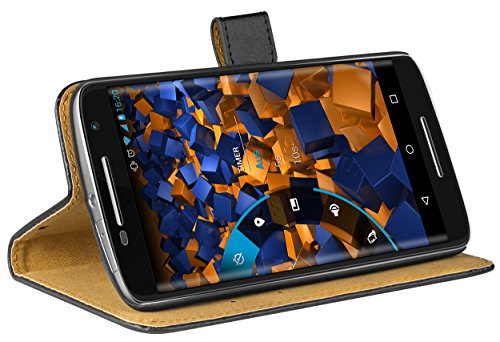 mumbi Echt Leder Bookstyle Hülle kompatibel mit Motorola Moto X Play Hülle Leder Tasche Hülle Wallet, schwarz