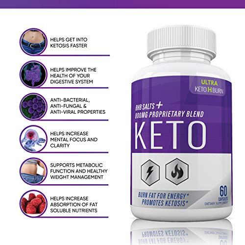 (5 Pack) Ultra Keto X Burn Shark Tank 800 mg, Ultra Keto X Burn Diet Pills Tablets Capsules, Pure Keto Fast Supplement for Energy, Focus - Exogenous Ketones for Men Women 6
