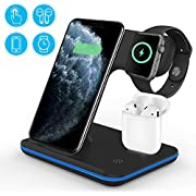 vcloo Wireless Charger, 3 in 1 Qi 15W Fast Wireless Charging Stand for Airpods Apple Watch, Wireless Charging Station for iPhone 11/11 Pro/11Pro Max/XS Max/XR Galaxy Note 10+/S10+ Huawei P30 Pro