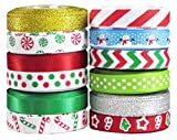 Q-YO Holiday Christmas Grosgrain Ribbon Set for Gift Package Wrapping, Hair Bow Clip Accessory...