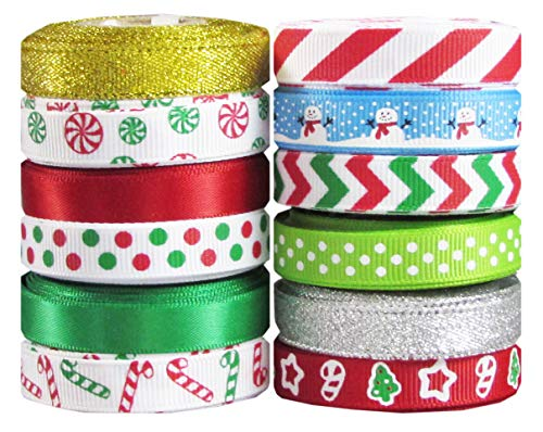 Q-YO Holiday Christmas Grosgrain Ribbon Set for Gift Package Wrapping, Hair Bow Clip Accessory Making, Crafting, Wedding Decor. (60yd(12x5yd) 3/8' Grosgrain Ribbon-Xmas)