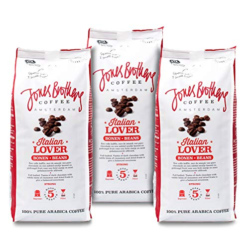 Jones Brothers Coffee Italian Lover Kaffeebohnen, 100{6c696192014b3da66bcdc5021bce80a0e2334d0285c5ae6b5f43b2a3af4dbde2} Arabica, Ganze Bohnen, Dunkle Röstung, Stärke 5 (Stark), 3 x 500g