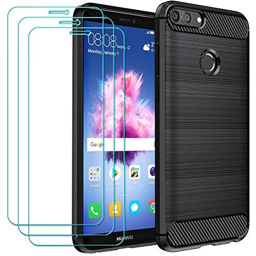 ivoler Funda para Huawei P Smart 2017 con 3 Unidades Cristal Templado, Fibra de Carbono Carcasa Protectora Antigolpes, Suave TPU Silicona Caso Anti-Choques Case Cover - Negro