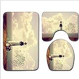 Dongbin Dreifarben-Druckvorrichtung Haushalt Badezimmer WC Matten Teppichmatten Stark Absorbierende Baumwolle Flanell Anti-Skid Blockspeicher U-Förmigen,3,45 * 75cm