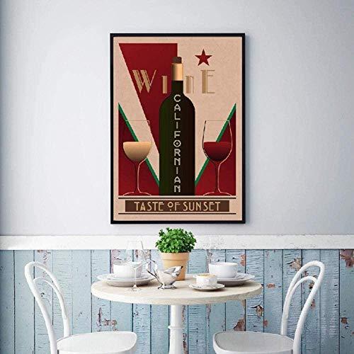 Cartel Vintage de vino californiano Bar pared arte imagen decoración vino carteles restaurante cocina decoración del hogar lienzo pintura / 40x60cm