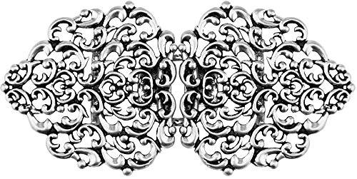 """Dirndlschürzenschließe""""Tribal"""" mit Ornamenten Halbrund - Steg 3 cm - Silber"""