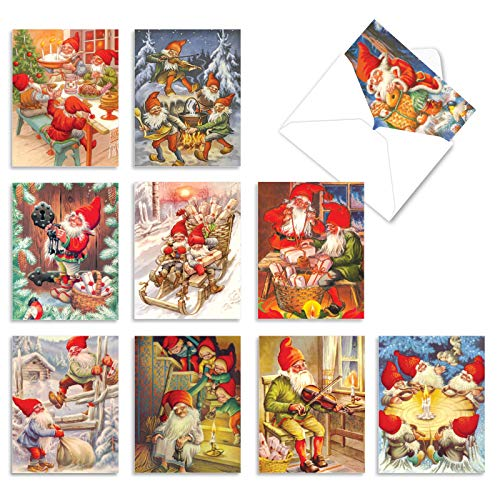 The Best Card Company - 10 Retro Merry Christmas Cards Bulk - Vintage Holiday Notecards with Envelopes (4 x 5.12 Inch) - Gnome for the Holidays AM6440XSG-B1x10