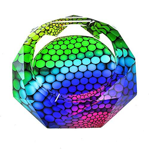 TIANYOU Cenicero Creativo Cenicero Cenicero Vidrio Humo Coleccionable Bandeja de Ceniza 3D Patrón Colorido Retro/C / 18x18x4cm
