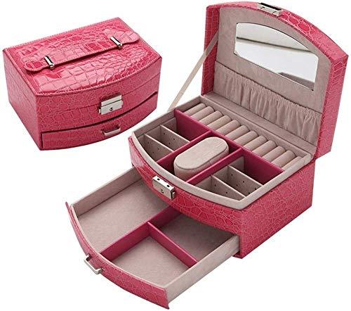 BESTPRVA Frauen Schmuck-Box Premium-Reise Jewelry Box Organizer for Mädchen/Frauen Tragbare Feine Geschenkboxen Doppel Jewellery Box mit Schublade Schmuckschatulle Aufbewahrungsbox for Schmuck Organ