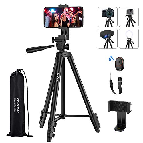"Phone Tripod, Mpow 53"" Extendable Travel Video Tripod Stand with Cell Phone Mount Holder & V5 Bluetooth Remote, Carry Bag, Tripod Compatible with iPhone SE/11/11PRO/XS Max/XS/XR/X/8P, Android,Camera"