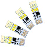 4 Pack USB Lights Keychain Super Bright Night Light 6 LEDs(Creative Design:3 Pure White & 3 Warm White LEDs Light Switchover) with Smart Touch Electrodeless Dimming Switch