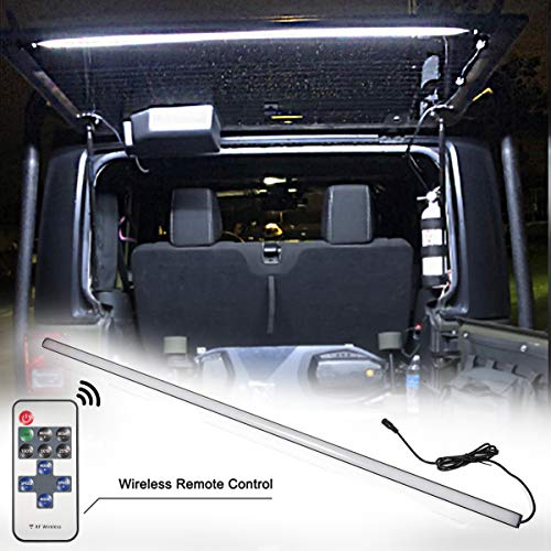 LE-JX Led Rear Glass Lift Gate Dome Light Bar for Jeep Wrangler 2007-2020 JK JKU,2018-2020 JL JLU,1997–2006 TJ Led Rear Cargo Liftgate Dome Light Bar,Lighting Adjustable with Remote and DC Connector