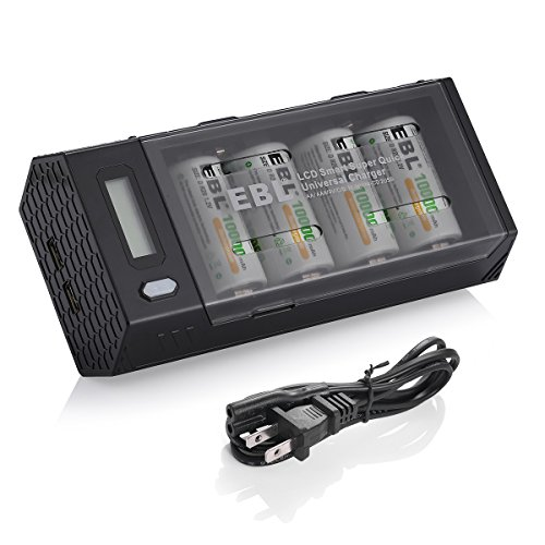 EBL D Size D Rechargeable Batteries (4 Pack, 10000mAh) and Ni-MH Ni-CD AA AAA C D 9V Battery Charger with 2 USB Charging Port