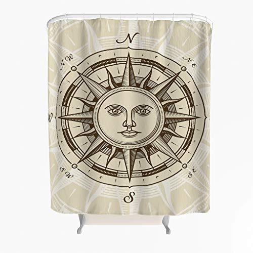 Sonne Kompass Duschvorhang Anti-Schimmel Antibakteriell Polyester Badewanne Vorhang mit Haken 180x200cm