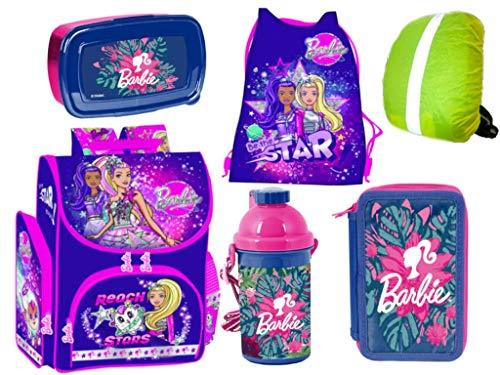 Barbie Schulranzen Set ergonomischer Ranzen Tornister XXL Federmappe Turnbeutel Brotdose Trinkflasche Regenhülle Mädchen 6-teilig Barbie Lizenz