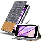 Cadorabo Hülle für Nokia Lumia 530 in HELL GRAU BRAUN - Handyhülle mit Magnetverschluss, Standfunktion & Kartenfach - Hülle Cover Schutzhülle Etui Tasche Book Klapp Style
