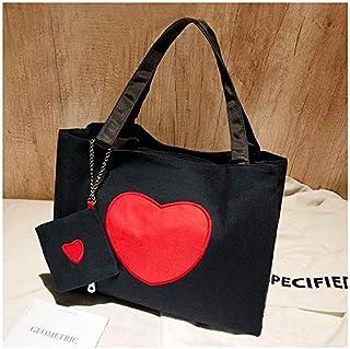 YKDY Shoulder Bag Leisure Fashion Leopard Print Canvas Shoulder Bag Handbag, with Wallet (Black) (Color : Black)