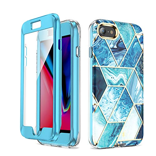 Cocomii Full Body Geometric Marble iPhone SE 2020/iPhone 8/iPhone 7 Case, Slim Glossy Soft TPU Builtin Screen Protector Hard Shockproof Bumper Cover Compatible with Apple iPhone SE 2020/iP8/iP7 (Blue)