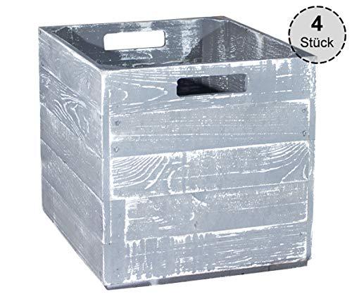 Vinterior 4er Paket Holzkisten für Kallax Regale 33x38x33cm Kallax Expedit Einsatz Aufbewahrungsbox Aufbewahrungskiste Apfelkiste Weinkiste Obstkiste Holzkiste