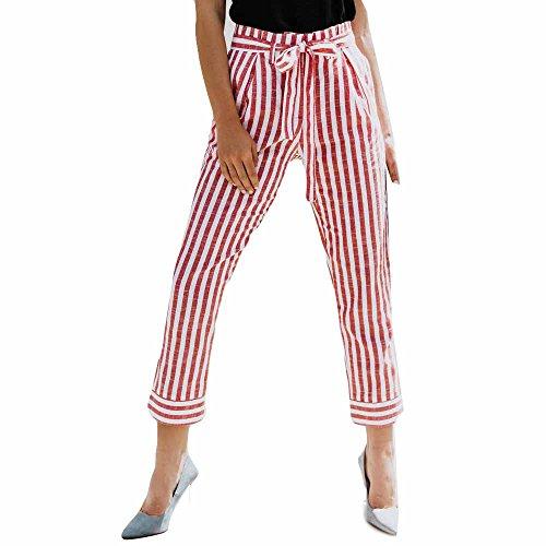 LEEDY Damen Gestreifte Streifen Freizeithose, Dünne Hohe Taillen-Streifen-Druck Bleistift Beiläufige Hosen mit Gürtel Sport Yogahose Leggings Chino-Hose