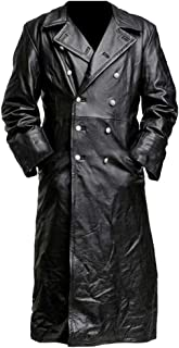 Bsjmlxg German Classic Officer Military Leather Medieval Vintage Long Trench Jacket Coat