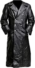 Bsjmlxg German Classic Officer Military Faux Leather Medieval Vintage Long Trench Jacket Coat
