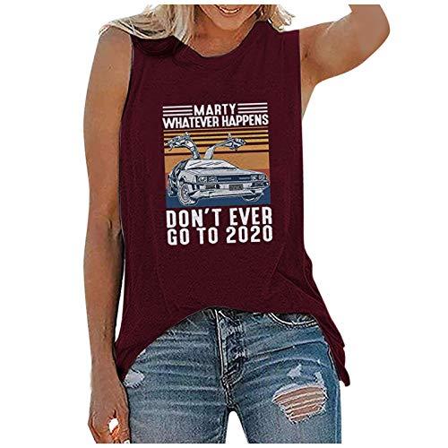 Don't Ever Go to 2020 Lettre T-shirt pour femme Imprimé 3D Digital Graphics Gilet Col en O Sans manches Taille L Rouge