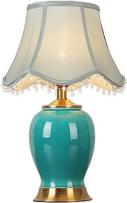 LINA Lampe de table en céramique lampe de chevet lampe européenne étude chambre chaude salon décoration lampe de table chinoise, 33x52cm (Couleur : B)