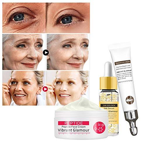 Crema facial WFZ17 de 3 piezas + esencia antiarrugas, cuidado de la belleza, crema facial reafirmante anti arrugas, reparación de ojos, cuidado de la piel