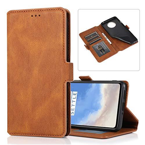 Snow Color OnePlus 7T Hülle, Premium Leder Tasche Flip Wallet Case [Standfunktion] [Kartenfächern] PU-Leder Schutzhülle Brieftasche Handyhülle für OnePlus 7T - COKLT010409 Braun
