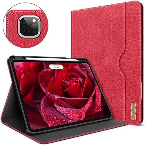 Case for iPad Pro 12.9 4th Generation 2020/2018 with Pencil Holder Folio Leather Stand Smart Cover with Pocket Auto Sleep/Wake Support iPad Pencil 2nd Gen Wireless Charging (Rose Red)