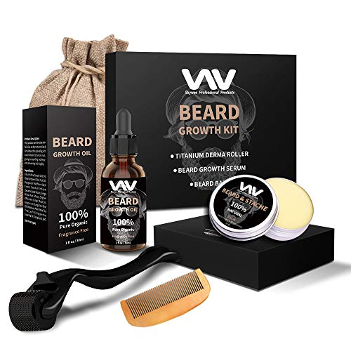 Beard Growth Kit, Derma Roller with Beard Growth Oil Serum for Men, Facial Hair Growth Kit with Beard Balm + Comb, Titanium Microneedle Beard Roller Kit, Best Gift for Men