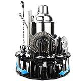 GUIFIER Cocktail Shaker Set,Cocktail-Set,Cocktail Shaker,19 Teilige Bar Set Cocktail Shaker Set mit Drehbarem Octagon-Ständer zum Mixen von Getränken - Bar Tools,Bestes Bartender Kit für Anfänger