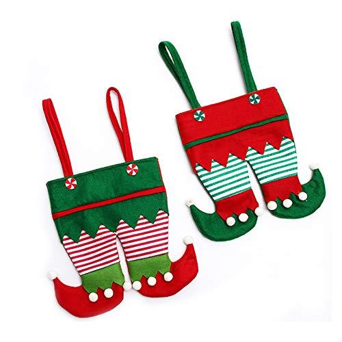 Weihnachtliche Süßigkeitenbeutel, Weihnachtsmannhose, Weinflaschenhülle und Snack-Halterung, tragbarer Geschenkkorb mit Griff, 2 Stück